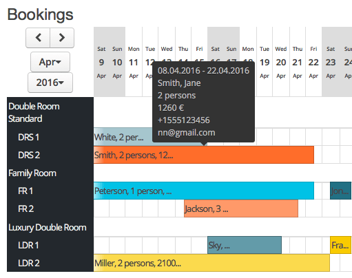 Advanced Booking Calendar Bookings