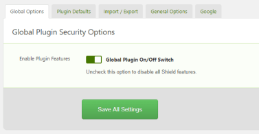 Shield Security for WordPress Global Settings