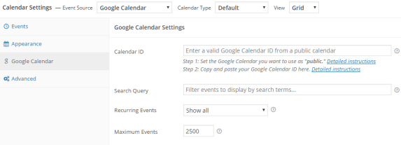 Simple Calendar – Google Calendar Plugin Settings