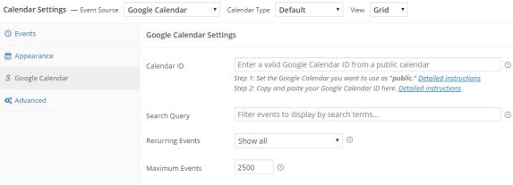 Simple Calendar – Google Calendar Plugin Settings