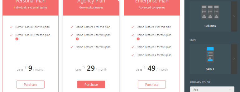 Responsive Drag and Drop Pricing Table Builder For Wordpress-min