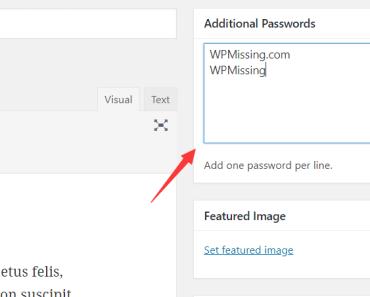 Additional Passwords field insert more passwords