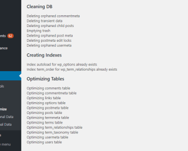 Small Wordpress Database Cleanup & Optimization Plugin - WPDB Optimize Preview