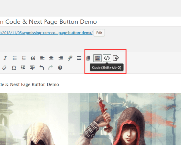 Add Code And Next Page Buttons To Visual Editor