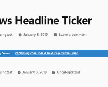 Easy Breaking News Ticker Plugin For Wordpress