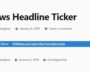 Easy Breaking News Ticker Plugin For Wordpress