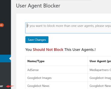 User Agent Blocker Settings
