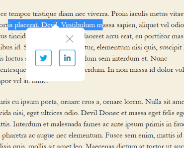 Easy Select To Share Plugin For WordPress