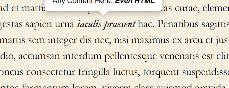 Rich Text Popover On Selected Text