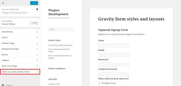styles & layouts menu