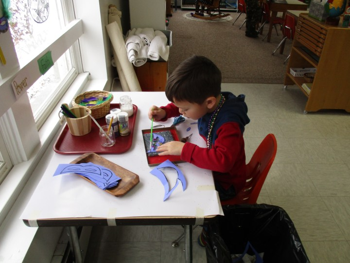 Student at work in classroom
