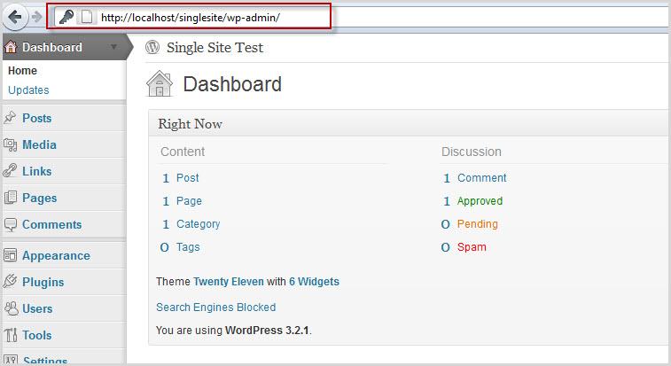 WordPress installed to localhost