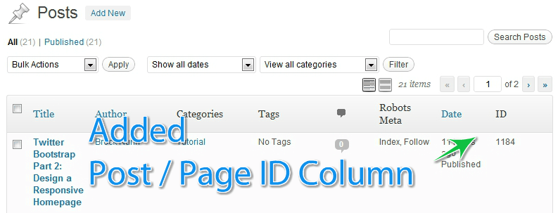id column wordpress admin