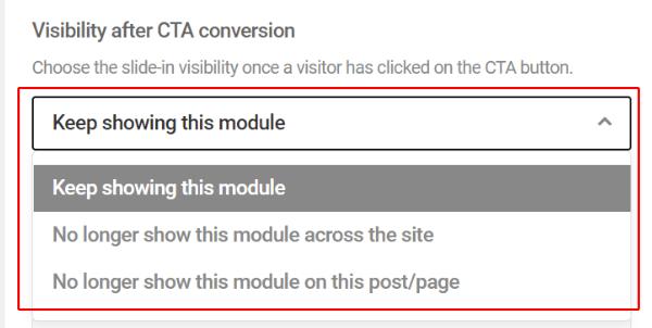 Visibilité après la conversion CTA