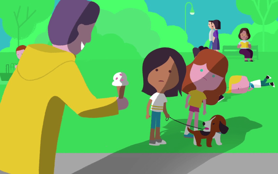 An NSPCC illustration of children being offered an ice cream by a stranger