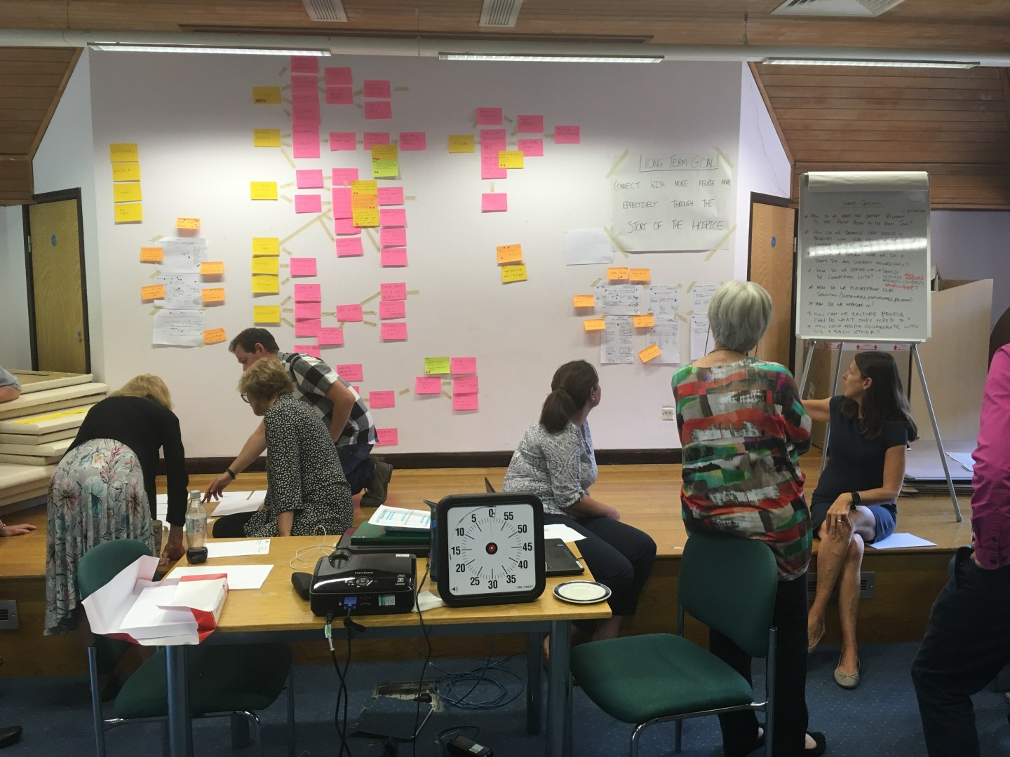 A collaborative workshop for Princess Alice Hospice showing a user journey flow