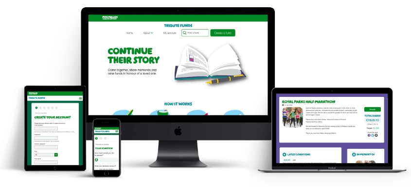 The Macmillan Tribute Fund website shown across desktop, laptop, mobile and tablet devices