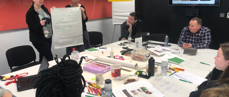 A photo of a collaborative sketching workshop for NSPCC Learning