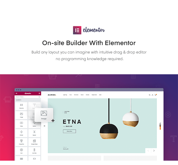 On-site Builder With Elementor in Auros Furniture Elementor WooCommerce Theme