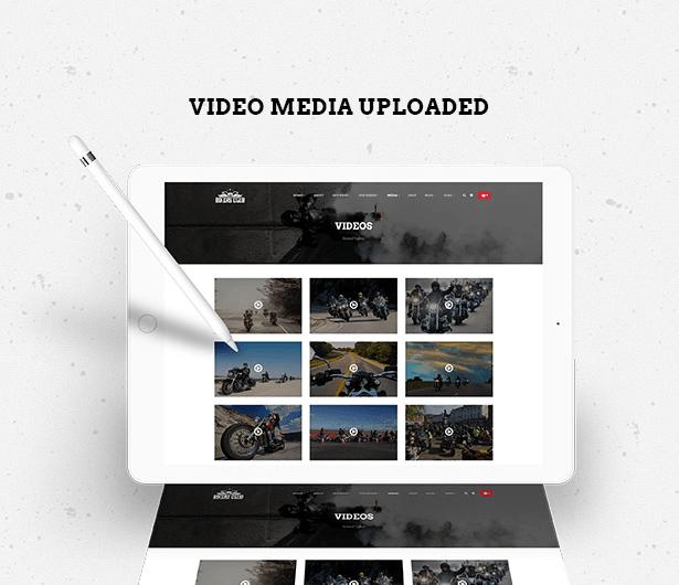 upload video media in Bikersclub Motorcycle WordPress Theme