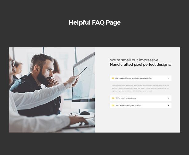 Helpful FAQ page in Corpec Corporate WordPress Theme
