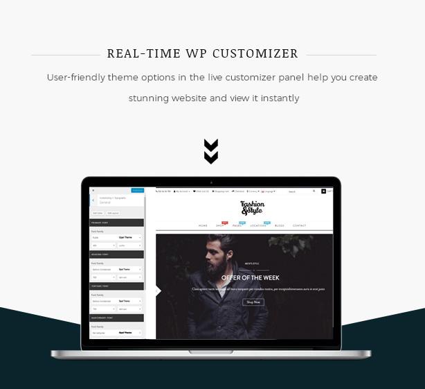 Real time Customization Fashion WooCommerce WordPress Theme