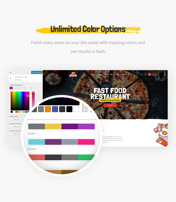 Foodo Unlimited Color: WordPress theme for fast food restaurants