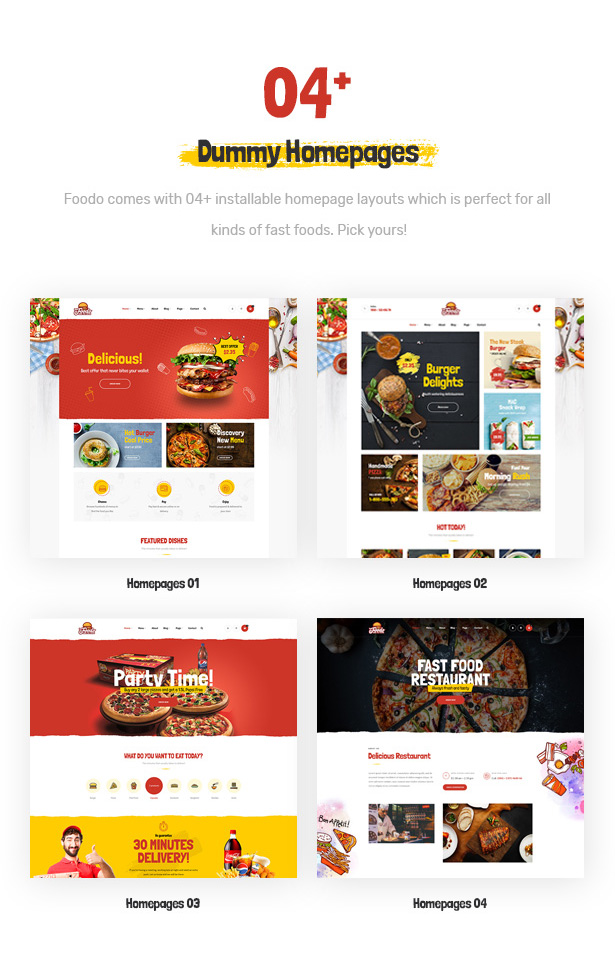 Foodo homepages- WordPress theme for a fast food restaurant