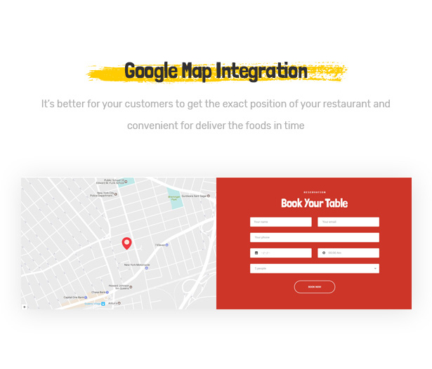Foodo Google Map: WordPress theme for fast food restaurants
