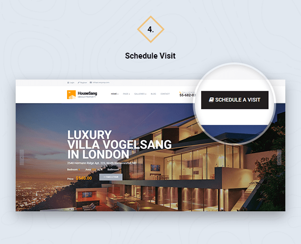 Quick Schedule Visit in HouseSang Single Property WordPress Theme