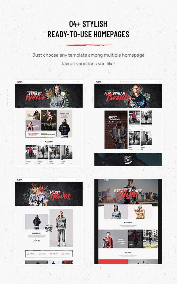 04+ Exclusively Designed Homepage Layouts in Striz Fashion Ecommerce WordPress Theme