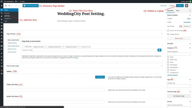 WeddingCity - Post Page Settings