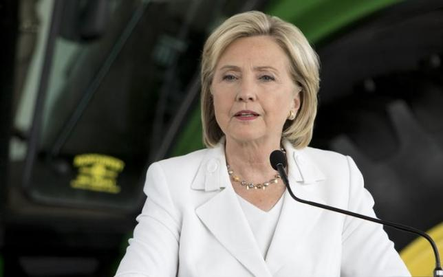 Democratic presidential candidate Hillary Clinton speaks during a press conference after talking about her strategy for rural America during a campaign stop at the FFA Enrichment Center at the Des Moines Area Community College in Ankeny, Iowa