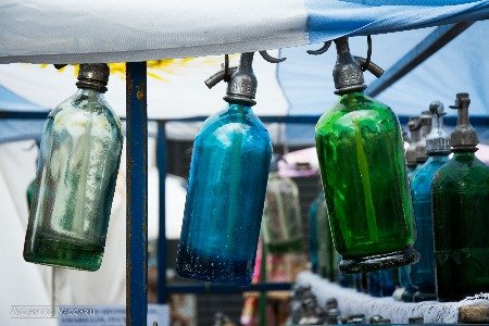 Image shows new Soda Siphons for sale in a market.