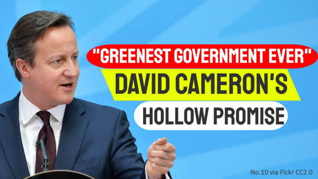 Article thumbnail shows David-Cameron when in charge of the greenest government ever.
