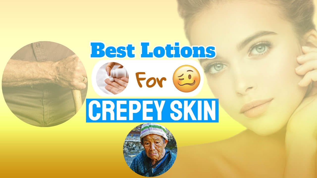 "Image with text: ""best lotions crepey skin on neck and face as well as on neck and arms""."