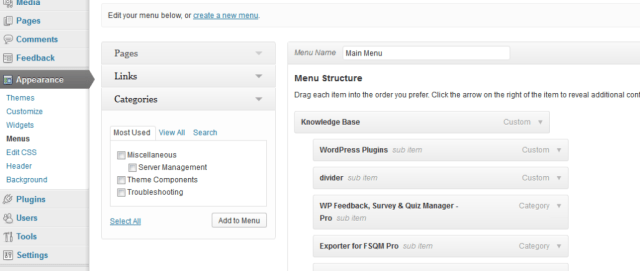 Creating menu from WordPress Appearance