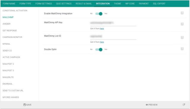 Mailchimp integration settings