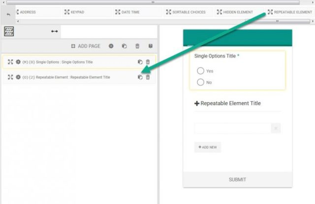 Add eForm Repeatable Element