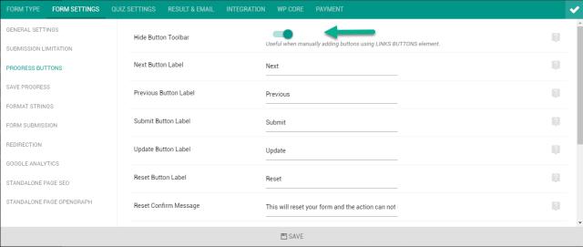 hide default button toolbar