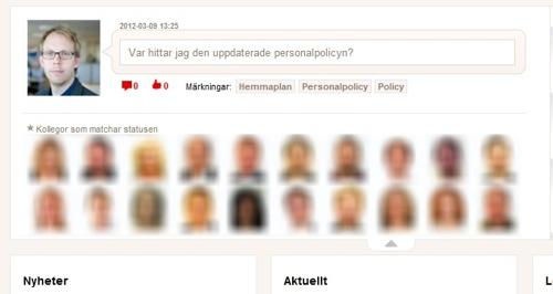 """Svenska Spels tjänst för intressematchning på startsidan för intranätet """"Hemmaplan""""."""