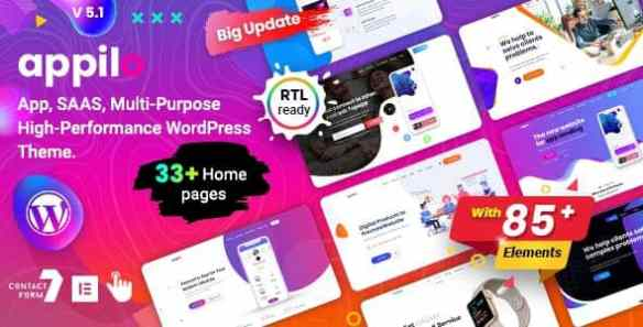 Appilo Theme App landing Page WordPress theme