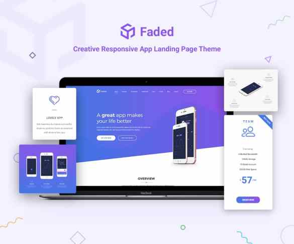 Faded Responsive app landing page wordpress theme