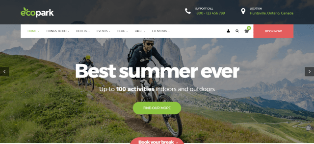 Ecopark, Premium hotel theme, WordPress hotel theme