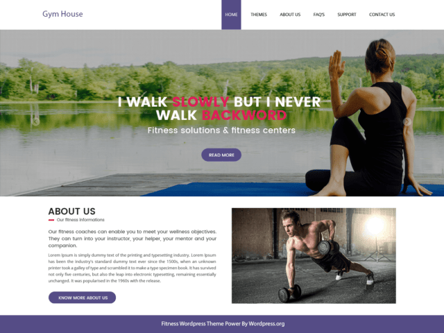 Fitness Gymhouse, free fitness WordPress themes