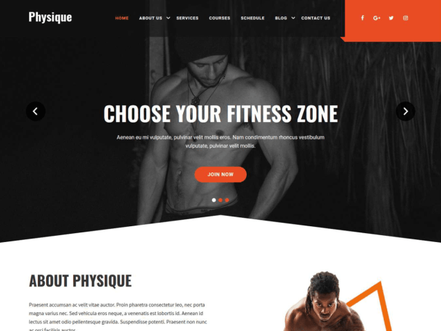 Physique, free fitness WordPress themes
