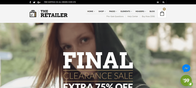 premium eCommerce WordPress themes, The Retailer