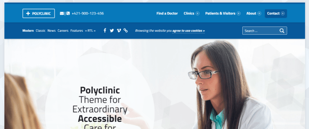 Premium Medical WordPress Theme, Polyclinic