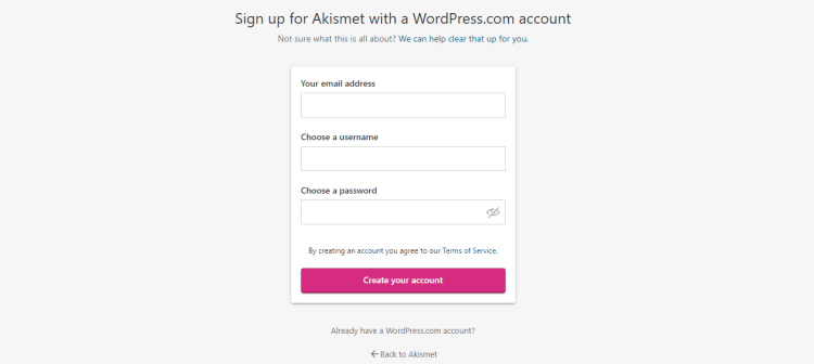 Akismet plugin for sign up screenshot