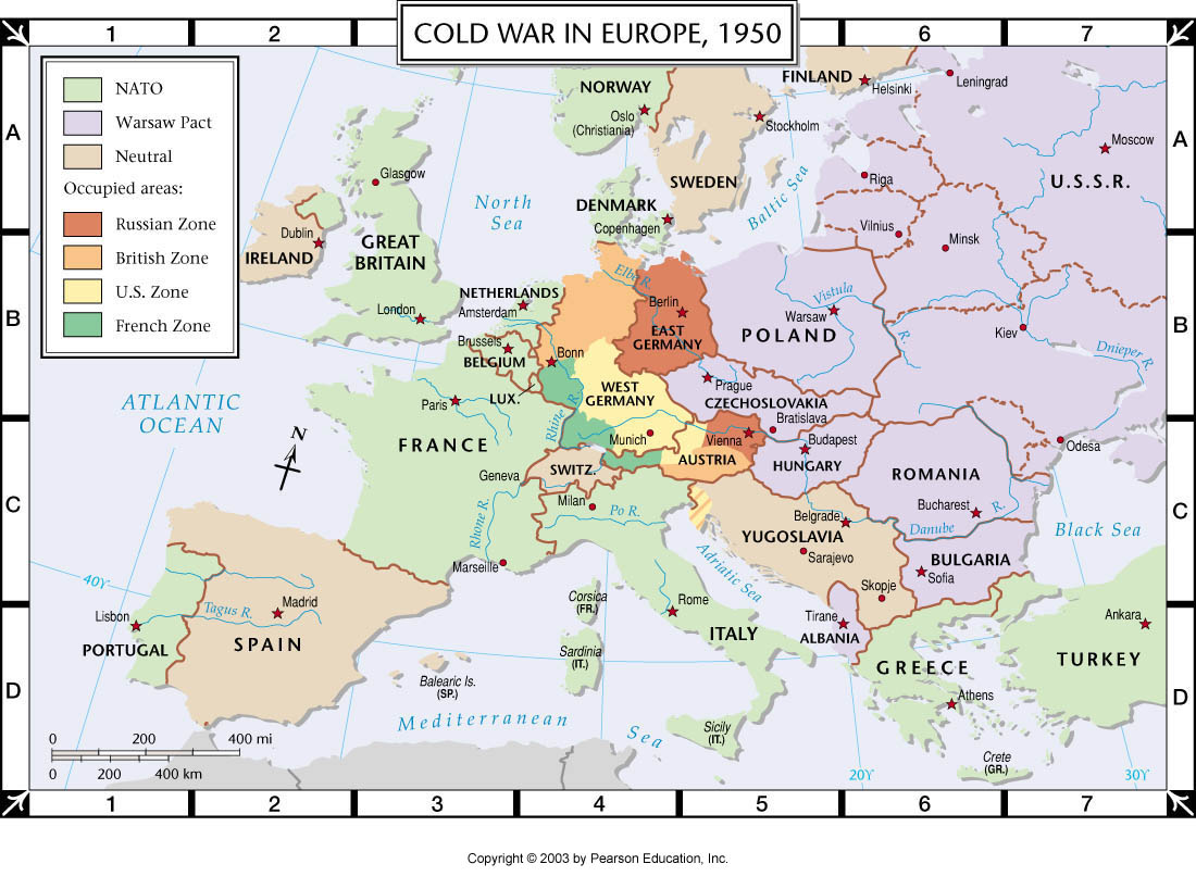Atlas Map Cold War In Europe